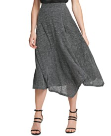 DKNY Striped Asymmetrical Skirt
