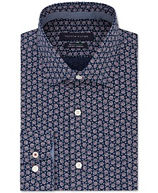 Tommy Hilfiger Men's Slim-Fit Non-Iron THFlex Supima® Performance Stretch Print Dress Shirt, Created for Macy's