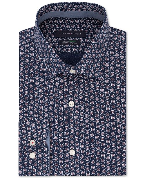 Tommy Hilfiger Men's Slim-Fit Non-Iron THFlex Supima® Performance Stretch Print Dress Shirt, Created for Macy's