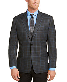 Michael Kors Men's Classic-Fit Charcoal/Blue Plaid Sport Coat