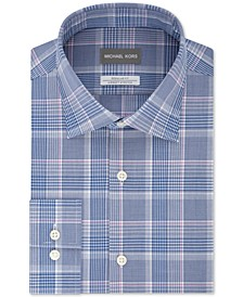 Men's Classic/Regular-Fit Non-Iron Airsoft Performance Stretch Knit Plaid Dress Shirt