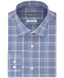 Men's Classic/Regular-Fit Non-Iron Airsoft Performance Stretch Knit Plaid Dress Shirt