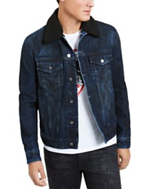 GUESS Men's Fleece Collar Denim Jacket