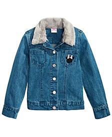 Little Girls Faux-Fur-Trim Denim Minnie Mouse Jacket