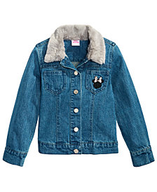 Disney Little Girls Faux-Fur-Trim Denim Minnie Mouse Jacket