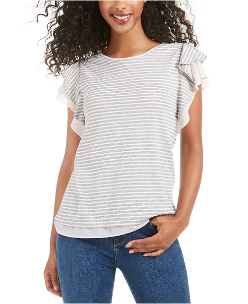 Maison Jules Flutter-Sleeve Striped Top, Created for Macy's