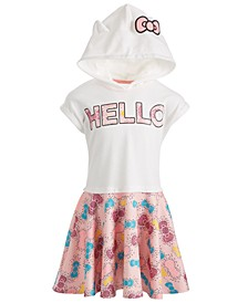 Little Girls Bow-Print Hooded Dress