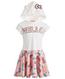 Hello Kitty Little Girls Bow-Print Hooded Dress