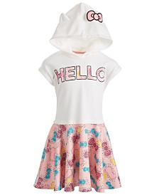 Hello Kitty Little Girls Bow-Print Hooded Dress