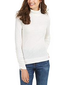 Juniors' Cutout Rib-Knit Turtleneck Top, Created for Macy's