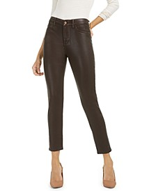 Coated High Rise Ankle Skinny Jeans