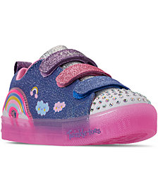Skechers Little Girls Twinkle Toes Rainbow Glow Stay-Put Closure Light Up Casual Sneakers from Finish Line