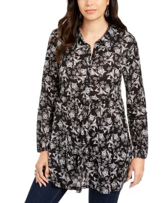 Printed Empire-Waist Tiered Blouse, Created for Macy's