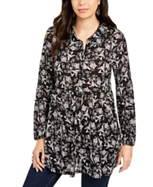 Style & Co Printed Button-Front Tunic Top, Created for Macy's