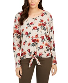Style & Co Floral-Print Tie-Front Top, Created for Macy's