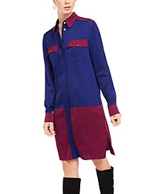 Colorblocked Pocket Shirtdress