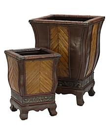 Decorative Wood Planters - Set of 2