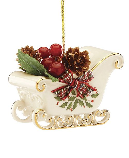 Lenox Christmas Ornaments.Holiday Sleigh Ornament