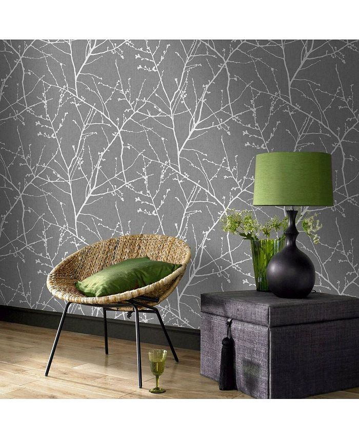 Graham & Brown - Innocence Charcoal and Silver Wallpaper