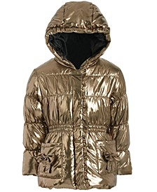 Little Girls Hooded Metallic Bows Jacket