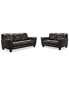 "Kaleb 84"" Tufted Leather Sofa and 61"" Loveseat Set, Created for Macy's"