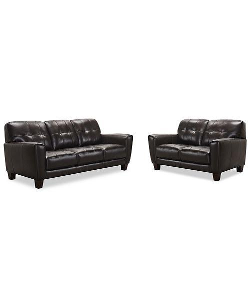 Brilliant Kaleb 84 Tufted Leather Sofa And 61 Loveseat Set Created For Macys Alphanode Cool Chair Designs And Ideas Alphanodeonline