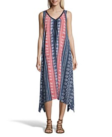 Printed Knit Dress with Neck Trim
