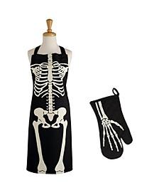 Skeleton Print Apron Oven Mitt Kitchen Set