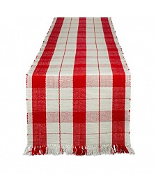 Design Imports Red Tinsel Plaid Fringed Table Runner