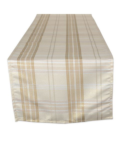 Design Import Metallic Plaid Table Runner