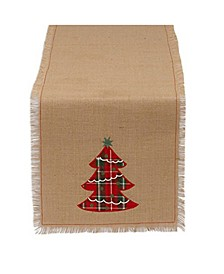 Embroidered Tree Burlap Table Runner