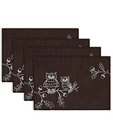 Embroidered Owls Placemat Set