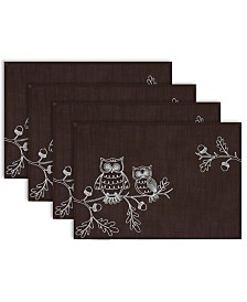 Design Imports Embroidered Owls Placemat Set