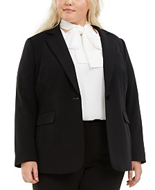 Bar III Plus Size One-Button Blazer, Created For Macy's