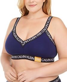 Calvin Klein Women's Plus Size 1981 Bold Unlined Triangle Bralette QF5652