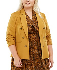 Bar III Plus Size Faux-Double-Breasted Blazer, Created for Macy's