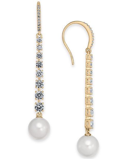 Eliot Danori Imitation Pearl & Cubic Zirconia Linear Drop Earrings, Created For Macy's
