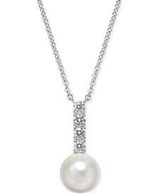 "Silver-Tone Imitation Pearl & Cubic Zirconia Pendant Necklace, 16"" + 1"" extender, Created For Macy's"