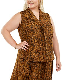 Trendy Plus Size Snake-Print V-Neck Top, Created for Macy's