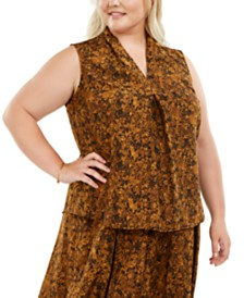Bar III Plus Size Snake-Print V-Neck Top, Created for Macy's