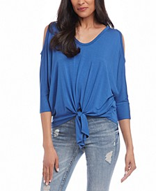 Cold-Shoulder Tie-Front Top