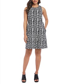 Sleeveless Snake Printed A-Line Dress