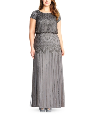 1920s Plus Size Flapper Dresses, Gatsby Dresses, Flapper Costumes Adrianna Papell Plus Size Bead-Illusion Blouson Dress $109.50 AT vintagedancer.com