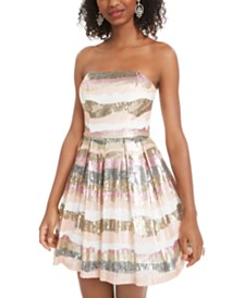 B Darlin Juniors' Sequined Strapless Dress, Created for Macy's