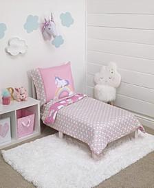 Little Tikes Rainbow Unicorn Reversible 4-Piece Toddler Bedding Set