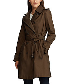 Lauren Ralph Lauren Belted Water Resistant Trench Coat, Created for Macys, Created for Macy's