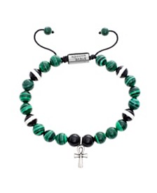Steve Madden Silver-Tone Stainless Steel Green and Black Beads with Ank Charm Bracelet