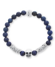 Steve Madden Men's Silver-Tone Stainless Steel Oxidized Skull Stretch Lapis Bead Bracelet
