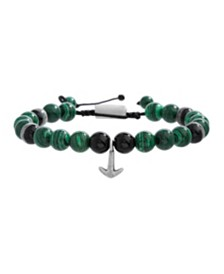 Steve Madden Men's Malachite Beaded Anchor Charm Bracelet