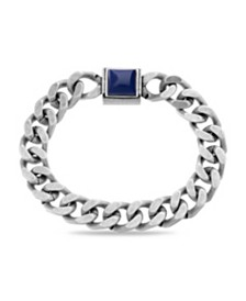 Steve Madden Men's Simulated Lapis Square Station Curb Chain Magnetic Bracelet
